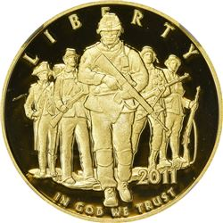 2011-W U.S. Army Gold $5. Proof-70 Ultra Cameo NGC.