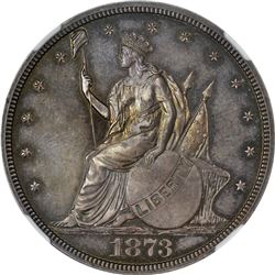 1873 Pattern Trade Dollar. Judd-1310, Pollock-1453. Silver. Reeded Edge. Rarity-5. Proof-64 NGC.