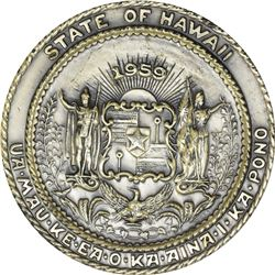 1959 Hawaii Statehood Medal. Medallic Art Co. Antiqued Stirling Silver. Edge No. 874. Nii Hau Error.