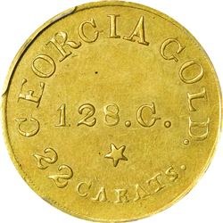 Undated (1837-1842) C. Bechtler $5. Georgia Gold. Kagin-23. Plain Edge. Rarity-6+. 128.G., 22 CARATS