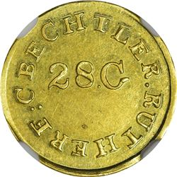 North Carolina. Undated (1834-1837) C. Bechtler Gold Dollar. Kagin-2. Rarity-6+. 28G High, Reeded Ed