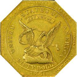 California. 1851 Augustus Humbert $50. Kagin-6. 887 THOUS. Target Reverse. Octagonal. Reeded Edge. R
