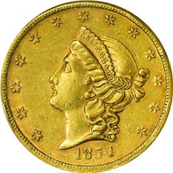 California. 1854 Kellogg & Co. $20. Kagin-1. Reeded Edge. Rarity-5. AU-58 NGC.