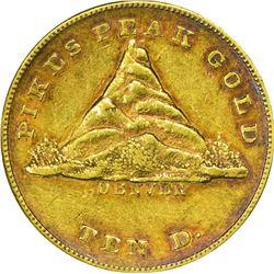 Colorado. Denver, Territory of Jefferson. 1860 Clark, Gruber & Co. $10. Kagin-3. Reeded Edge. Rarity