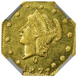 California. 1871-G Octagonal 25¢. BG-768. Liberty Head. Rarity-4. MS-62 PL NGC.