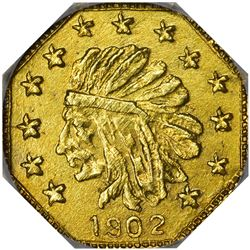 "Alaska. Hart's Coins of the Golden West. ""1902"" 1/4 Pinch. Octagonal. Indian Head Left. MS-67 NGC."