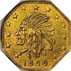 "Alaska. Hart's Coins of the Golden West. ""1900"" 1/2 Pinch. Octagonal. Indian Head Left. MS-66 NGC."