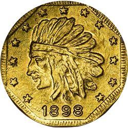 "Alaska. Hart's Coins of the Golden West. ""1898"" ONE Pinch. Octagonal. Indian Head Left, 13 Stars. MS"