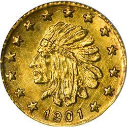 "Alaska. Hart's Coins of the Golden West. ""1901"" 1/4 Pinch. Round. Indian Head Left. MS-66 NGC."