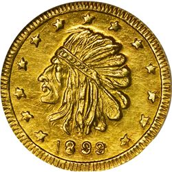 "Alaska. Hart's Coins of the Golden West. ""1899"" 1/2 Pinch. Round. Indian Head Left. MS-67 NGC."