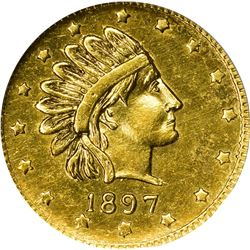 """Alaska. Hart's Coins of the Golden West. """"1897"""" ONE Pinch. Round. Indian Head Right, 16 Stars. MS-66"""