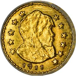 Alaska. Hart's Coins of the Golden West. 1911 ¼ Gold. Parka Head. Round. MS-67 NGC.