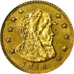 Alaska. Hart's Coins of the Golden West. 1911 1/2 Gold. Parka Head. Round. MS-67 NGC.