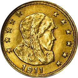 Alaska. Hart's Coins of the Golden West. 1911 ONE Gold. Parka Head, 11 Stars. Round. MS-66 NGC.