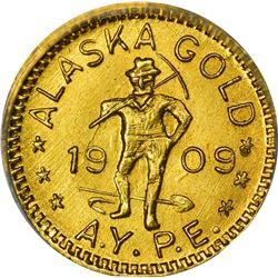 Alaska. Hart's Coins of the Golden West. Alaska Yukon Pacific Exposition. 1909 ¼ DWT. Round. MS-67 N