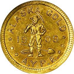 Alaska. Hart's Coins of the Golden West. Alaska Yukon Pacific Exposition. 1909 1/2 DWT. Round. MS-66