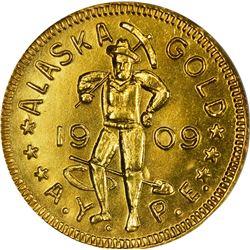 Alaska. Hart's Coins of the Golden West. Alaska Yukon Pacific Exposition. 1909 1 DWT. Round. MS-66 N