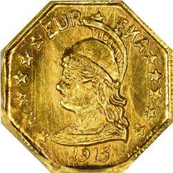 California. Hart's Coins of the Golden West. 1915 ¼ Gold. Minerva Head, Bear. Octagonal. MS-66 NGC.
