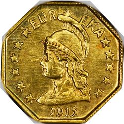 California. Hart's Coins of the Golden West. 1915 1/2 Gold. Minerva Head, Bear. Octagonal. MS-67 NGC