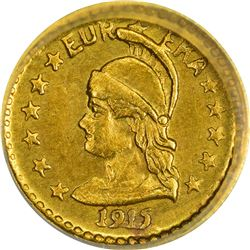 California. Hart's Coins of the Golden West. 1915 ¼ Gold. Minerva Head, Bear. Round. MS-68 NGC.