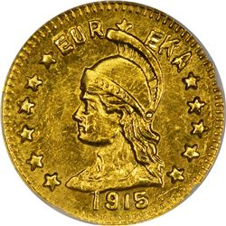 California. Hart's Coins of the Golden West. 1915 1/2 Gold. Minerva Head, Bear. Round. MS-68 NGC.