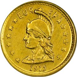 California. Hart's Coins of the Golden West. 1915 ONE Gold. Minerva Head, Bear. Round. MS-66 NGC.