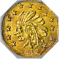 """Hart's Coins of the Golden West. """"1902"""" ¼ Gold. Octagonal. Indian Head, Bear. MS-67 NGC."""