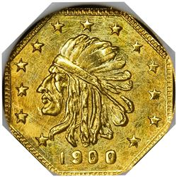 """Hart's Coins of the Golden West. """"1900"""" ½ Gold. Octagonal. Indian Head, Bear. MS-67 NGC."""
