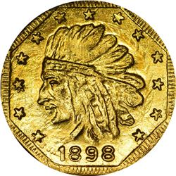 """Hart's Coins of the Golden West. """"1898"""" ONE Gold. Octagonal. Indian Head, Bear. MS-67 NGC."""