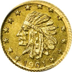"""Hart's Coins of the Golden West. """"1901"""" 1/4 Gold. Round. Indian Head, Bear. MS-67 NGC."""