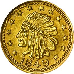 """Hart's Coins of the Golden West. """"1849"""" ½ Gold. Round. Indian Head, Bear. MS-67 NGC."""