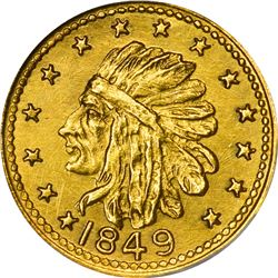 """Hart's Coins of the Golden West. """"1849"""" ONE Gold. Round. Indian Head, Bear. MS-67 NGC."""