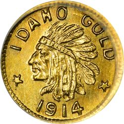 Idaho. Hart's Coins of the Golden West. 1914 25¢-Sized Gold. Indian Head, State Arms. Round. MS-67 N