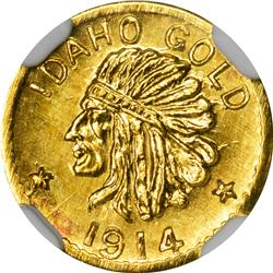 Idaho. Hart's Coins of the Golden West. 1914 50¢-Sized Gold. Indian Head, State Arms. Round. MS-67 N