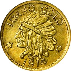 Idaho. Hart's Coins of the Golden West. 1914 $1-Sized Gold. Indian Head, State Arms. Round. MS-67 NG