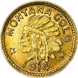 Montana. Hart's Coins of the Golden West. 1914 25¢-Sized Gold. Indian Head, State Arms. Round. MS-68