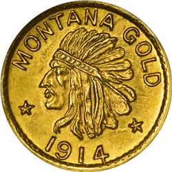 Montana. Hart's Coins of the Golden West. 1914 50¢-Sized Gold. Indian Head, State Arms. Round. MS-67