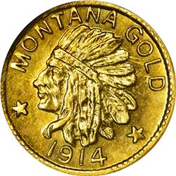 Montana. Hart's Coins of the Golden West. 1914 $1-Sized Gold. Indian Head, State Arms. Round. MS-67