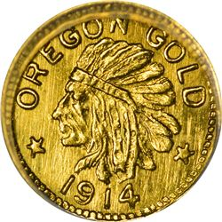 Oregon. Hart's Coins of the Golden West. 1914 25¢-Sized Gold. Indian Head, State Arms. Round. MS-68