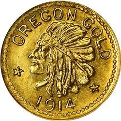 Oregon. Hart's Coins of the Golden West. 1914 50¢-Sized Gold. Indian Head, State Arms. Round. MS-67