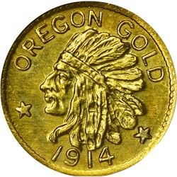 Oregon. Hart's Coins of the Golden West. 1914 $1-Sized Gold. Indian Head, State Arms. Round. MS-67 N