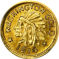 Washington. Hart's Coins of the Golden West. 1914 25¢-Sized Gold. Indian Head, State Arms. Round. MS
