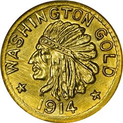 Washington. Hart's Coins of the Golden West. 1914 50¢-Sized Gold. Indian Head, State Arms. Round. MS