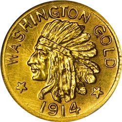 Washington. Hart's Coins of the Golden West. 1914 $1-Sized Gold. Indian Head, State Arms. Round. MS-