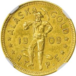 Hart's Coins of the West. 1909 Alaska-Yukon Exposition Gold. 1300-400 DWT. MS-63 NGC.
