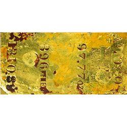 California. San Francisco. Undated (1857) Kellogg & Humbert Assayers. Gold Ingot. 97.77 Ounces. .896