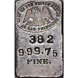 California. San Francisco. Undated. Mint of the United States at San Francisco. Silver Ingot. Type I