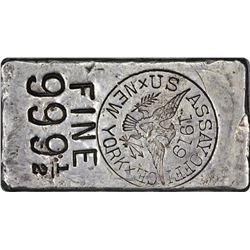 New York. New York City. 1919 U.S. Assayer Office. Silver Ingot. 6.27 Ounces. .99950 Fine.  No. 4186