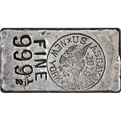 New York. New York City. 1919 U.S. Assayer Office. Silver Ingot. 6.27 Ounces. .99950 Fine.  No. 4186