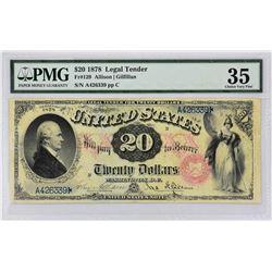 Fr. 129. 1878 $20 Legal Tender. PMG Choice Very Fine 35.
